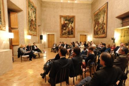 1 G.Melandri M.Sinibaldi Roberto Ippolito e E. de Chassey Villa Medici 5 novembre 2013 foto Maurizio Riccardi