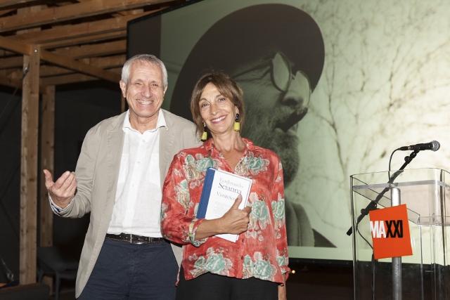 Maxxi 18 settembre 2014 7. Roberto Ippolito curatore Nel baule e Anna Bonaiuto foto Flaminia Nobili