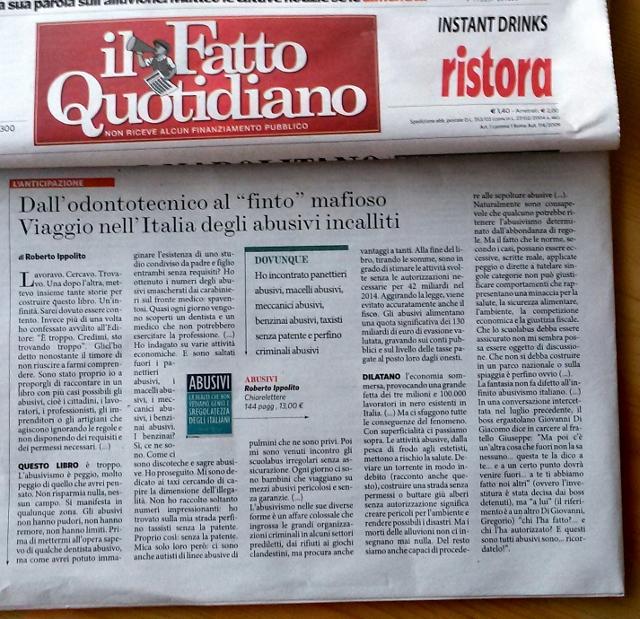 Roberto Ippolito Abusivi Chiarelettere su Il Fatto Quotidiano 31 ottobre 2014