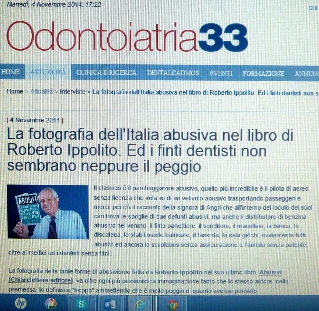 Roberto Ippolito Abusivi Chiarelettere su Odontoiatria33 4 novembre 2014
