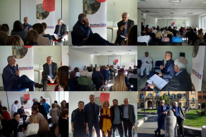 2019 05 16 collage Dottor Libro Ospedale San Camillo Roma Gianrico Carofiglio e Roberto Ippolito