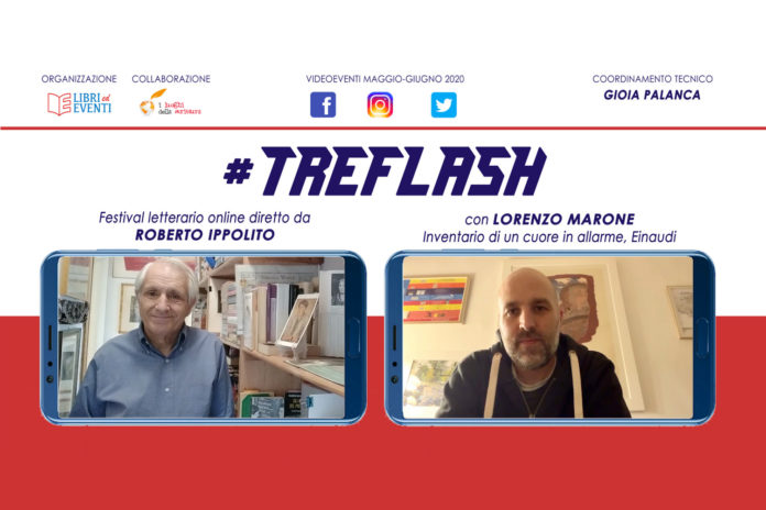 Roberto Ippolito direttore #TreFlash festival letterario online video con Lorenzo Marone 22 maggio 2020