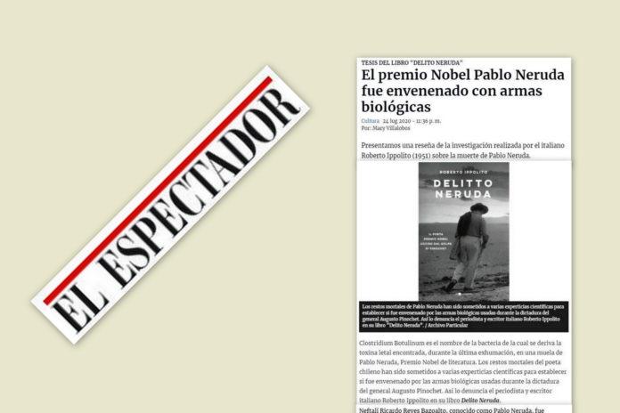 """Il libro di Roberto Ippolito """"Delitto Neruda"""" (Chiarelettere) raccontato da Mary Villalobos """"El Espectador"""" (Colombia) 24 luglio 2020"""