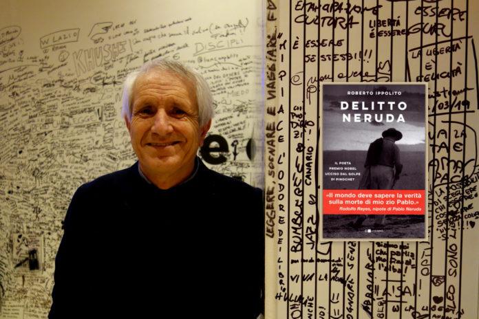 """Roberto Ippolito a """"Libri Come' Auditorium Parco della Musica Roma e la copertina del suo libro """"Delitto Neruda"""" (Chiarelettere)"""