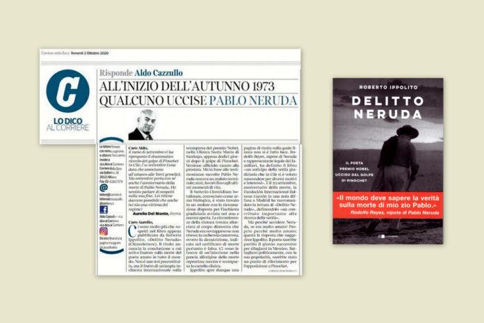 """Aldo Cazzullo parla sul """"Corriere della Sera"""" del libro di Roberto Ippolito """"Delitto Neruda"""" (Chiarelettere) 2 ottobre 2020"""