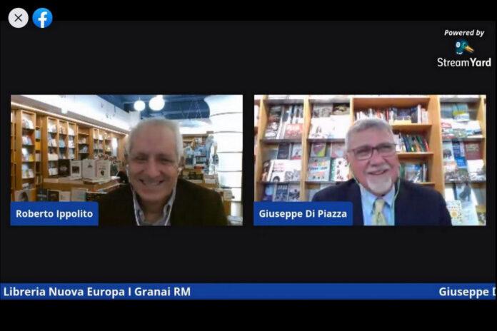 """Roberto Ippolito presenta Giuseppe Di Piazza autore di """"L'arte di non amare"""" (HarperCollins) in diretta Facebook nella Libreria Nuova Europa I Granai Roma 2 marzo 2021"""