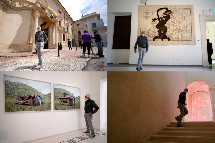 Visita in anteprima Maxxi L'Aquila, Roberto Ippolito 30 maggio 2021 collage foto Alessio Viscardi