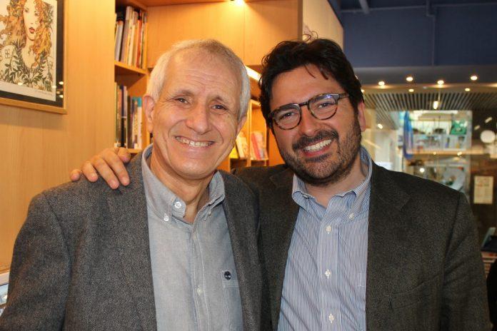 Roberto Ippolito e Costantino D'Orazio foto di archivio a 'Voluminosi' libreria Nuova Europa I Granai Roma 25 marzo 2017