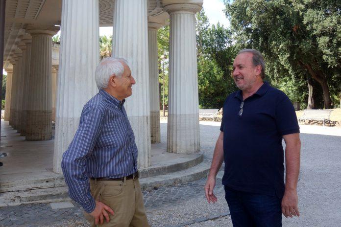 """Roberto Ippolito, ideatore di """"Libri a Piazza Vittorio"""", e Eugenio Occorsio, autore di """"Non dimenticare, non odiare"""", (Baldini + Castoldi)"""